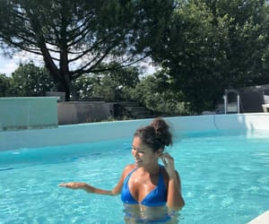 blue, french girl, and swimming image