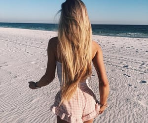 blonde, girl, and beach image