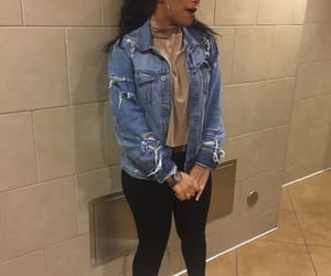 outfit, girl, and jean jacket image