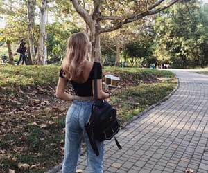 autumn, girl, and park image