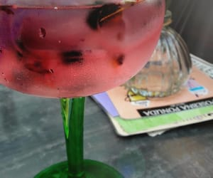 cocktail, rose petals, and drink image