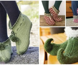 knitting, shoes, and elf slippers image