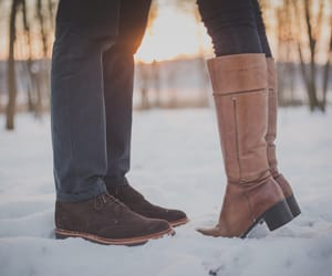 boots, couple, and snow image