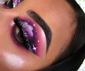 makeup, purple, and eyebrows image
