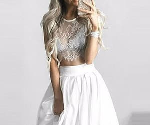 prom dresses short, prom dresses two piece, and evening dress white image