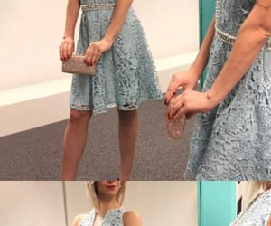 blue prom dress, short prom dress, and prom dress a-line image