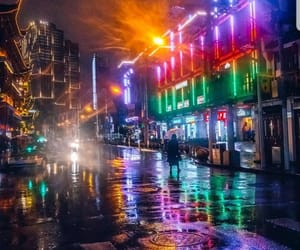 city, rain, and colors image