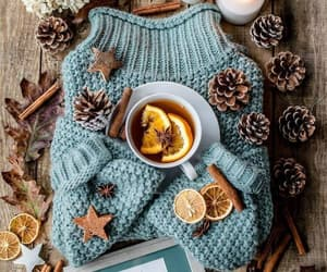 sweater, tea, and winter image