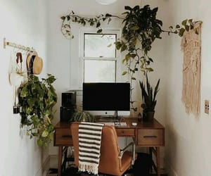 desk, home, and plants image
