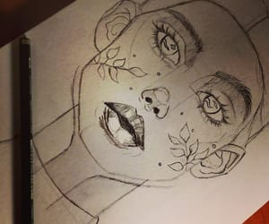 sketch, drawing, and face image
