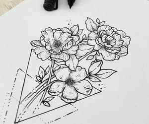 flowers, roses, and tattoo image