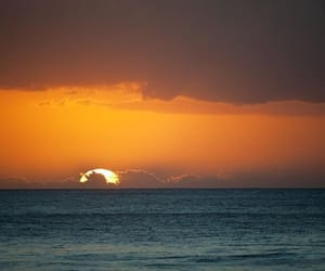 horizon, ocean, and sunset image