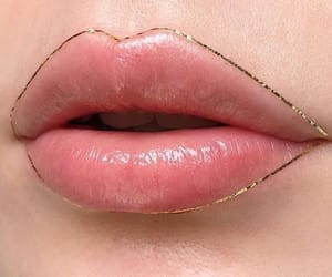 lips, gold, and pink image