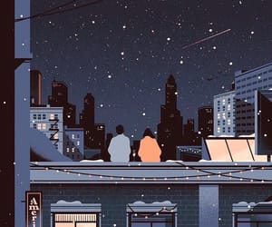 animated, rooftops, and stars image