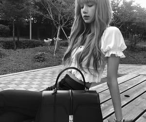 bag, black and white, and idol image
