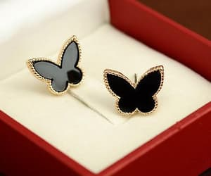 black, butterfly, and jewelry image