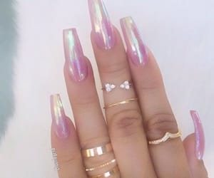 nails, holographic, and pink image