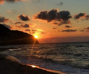 beach, sunset, and vacation image