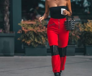 red pants, red and black outfit, and outfit goals image