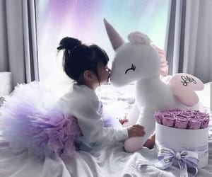 baby, violet, and unicorn image