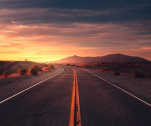 evening, road, and sky image