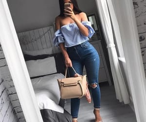 jeans, outfit, and blue image
