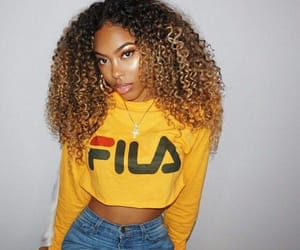 yellow, curls, and curly hair image