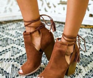 shoes, brown, and heels image