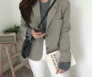 bag, blouse, and gray image