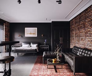 brick wall, studio, and interior design image