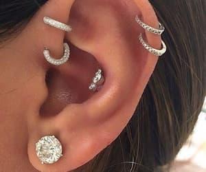 piercing, diamond, and earrings image