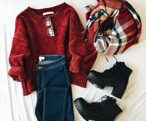 sweater, red, and scarf image