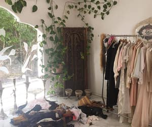 dream closet, full of plants and pastel colours