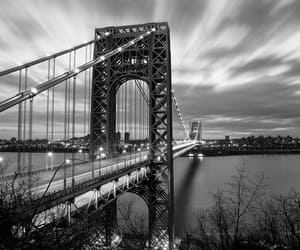 bridge, black and white, and city image