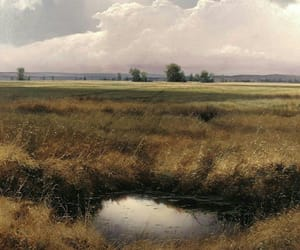 field, landscape, and painting image