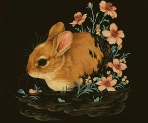 flowers, illustration, and rabbit image