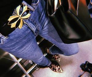 bag, belt, and denim image