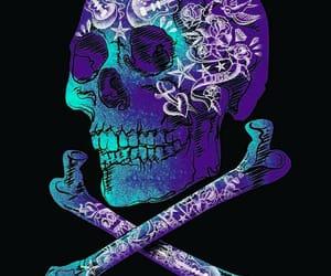 skull, guitar, and purple image