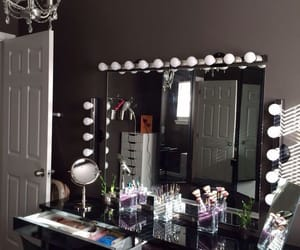 interior, makeup brushes, and light bulbs image