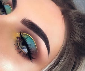 eyebrows, eyeliner, and green image