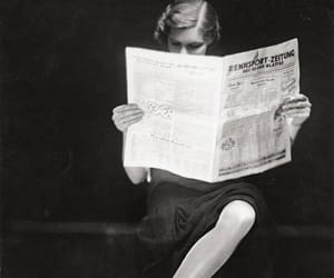 black and white, newspaper, and reading image