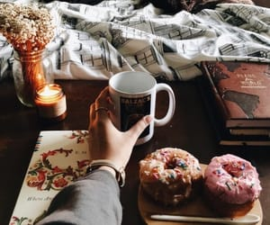 fall, coffee, and floral image