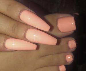 long nails, nails, and orange nails image
