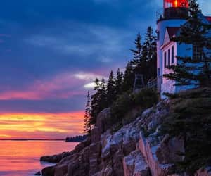 colorful sky, facebook, and lighthouse image