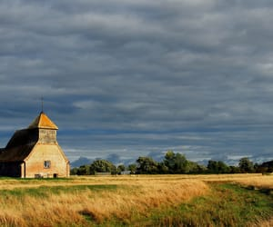 church, cloudy sky, and countryside image