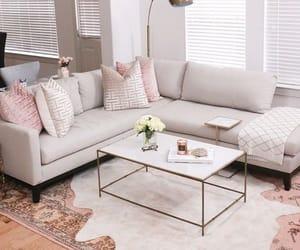 light, pink, and sofa image