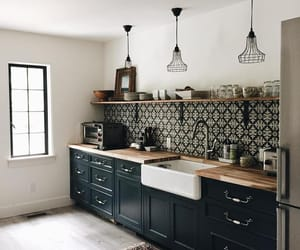 """Jean Stoffer on Instagram: """"For the kitchen in the guest house I reused our old Island cabinets and painted them Benjamin Moore's Hale Navy. Now they look fresh and…"""""""