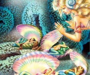 fantasy, love, and mermaids image