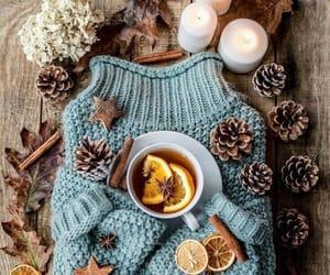 sweater, tea, and autumn image