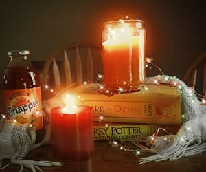 autumn, candles, and fairy lights image